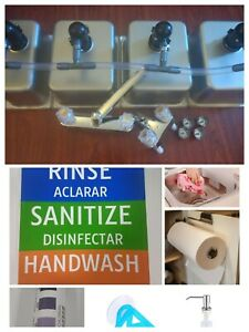 4 Compartment Portable Concession Sink Drain Kit 3 Large 1 Standard W extras