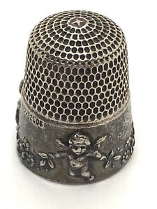 Antique Simon Bros Cupid Sterling Silver Victorian Cherubs Thimble Dated 1905