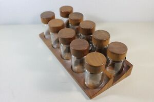 Two Mcm Denmark Danish Digsmed Spice Rack And Ten Spice Bottle W Wooden Cap