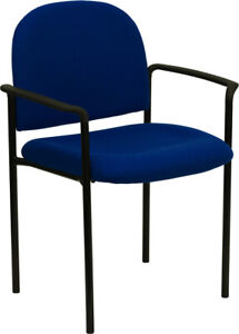 Navy Fabric Stackable Office Chair With Arms Metal Frame Waiting Room Chair