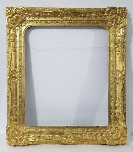 Antique Carved Ornate Giltwood Gold Leaf Picture Painting Frame Fits 20 X 24