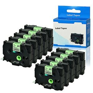 10pk Black On Fluo Green Label Tape Tz d41 0 7 For Brother P touch Pt d450 p700