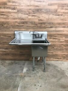 Serv ware 1cwph1824l 24 1 compartment Sink With Left Drainboard Stainless Steel