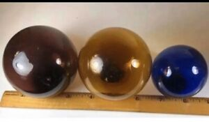 Lot Vintage Handblown Amber And Blue Glass Fishing Floats