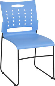 Heavy Duty Sled Base Blue Plastic Office Guest Chair Waiting Room Chair