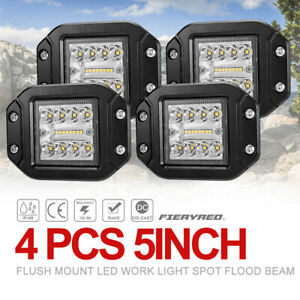 5 Inch Led Work Light 2pcs Flush Mount Auxiliary Driving Lights Spot Flood Beam