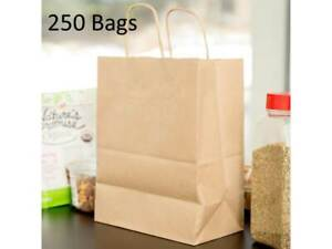250 Natural Brown Kraft Paper Shopping Bags With Handle 8 X 4 1 2 X 10 1 4