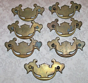 7 Spectacular Antique Brass Chippendale Drawer Pulls Batwing Marked England