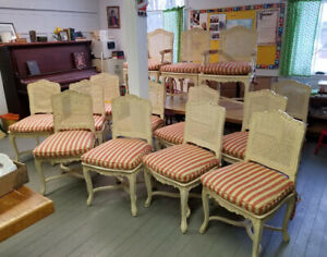 High Quality Set Of 14 Carved French Provincial Country Dining Chairs C1970