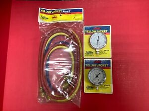 Yellow Jacket Refrigeration Charging Hose And Red And Blue Gauges