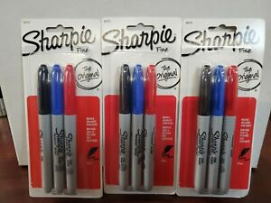 3 Packs Of 3ct Sharpie Permanent Fine Point Markers Black Blue Red