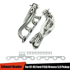 For 87 95 Ford F150 bronco 5 8 V8 Pickup Performance Exhaust Header Manifold Kit