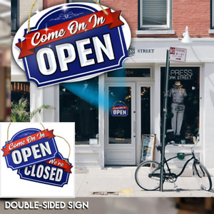 Open Closed Sign Store Business Door Front Reversible Double Sided Hang Display