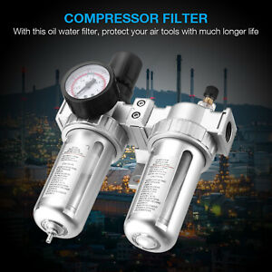 G1 2 Air Compressor Filter Oil Water Separator Trap Tools With Regulator Gauge