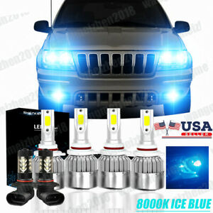 6x 8000k Led Headlight Hi Low Beam Fog Lights For Jeep Grand Cherokee 1999 2004