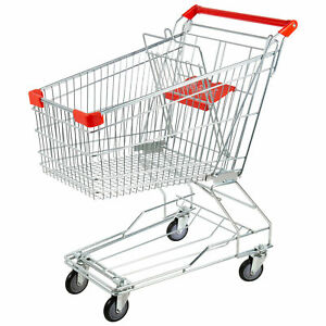 Regency Silver Metal Supermarket Grocery Cart 3 5 Cu Ft