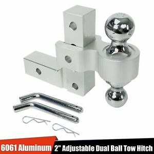 Aluminum Dual Ball 6 Drop Adjustable Trailer Tow Towing Hitch For 2 Receiver