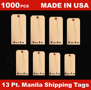1000 Manila 13 Pt Inventory Shipping Hang Price Tags Pre wired 1 2 3 4 5 6 7 8