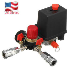Air Compressor Pressure Switch Control Manifold Regulator Gauges Fittings New