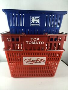 Vintage Top Tomato Grocery Shopping Hand Basket Red Plastic With Metal Handles