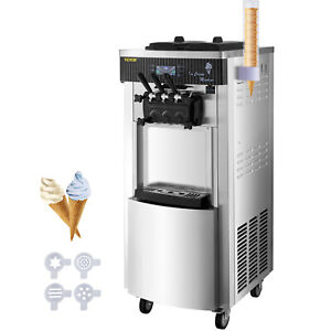 2200w Commercial Soft Ice Cream Machine 3 Flavors 5 3 7 4gallons hour Led Panel