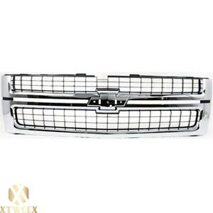 Chrome Grille With Black Insert For 07 10 Chevy Silverado Hd Fit Gm1200608