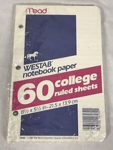1987 Westab Notebook Paper 60 College Ruled Sheets Vintage Mead