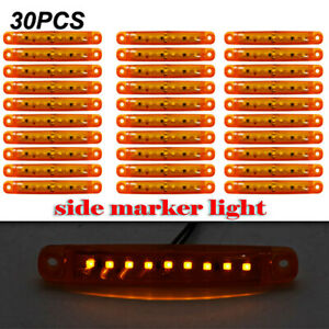 30pc Durable Amber 9 Led Truck Trailer Lorry Sealed Side Marker Clearance Light