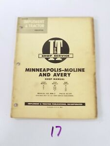 Mm 2a I t Shop Service Manual Minneapolis Moline Bf Gta Gtb V Avery Tractors R U