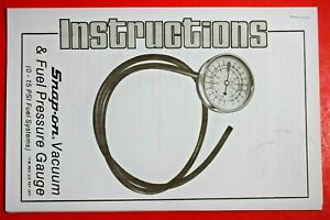 Snap on Tools Mt14 Vacuum Fuel Pressure Tester Gauge Instruction Manual Only