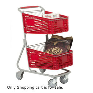 Plastic Double Basket Shopping Cart In Red 18 5 W X 29 D X 41 H Inches