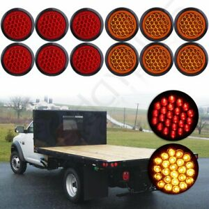 12x 4 Round 24 Led Truck Trailer Red Amber Car Pickup Tail Turn Signal Light