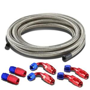 6an 12ft Nylon And Stainless Steel Braided Fuel Hose With An6 End Red