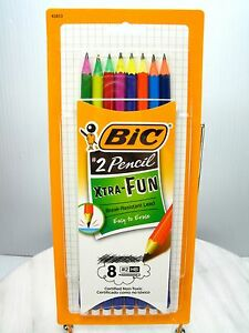 New Bic Xtra fun 2 Lead Pencils 8 Pack Easy To Erase Neon Barrel Wood