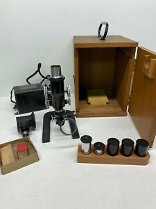 Antique 1915 Bausch Lomb Microscope Case Set Lenses Transformer Remarkable