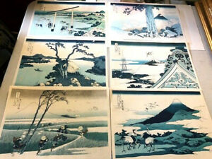 Vintage Set Of Six Hokusai Woodblock Prints C 1950