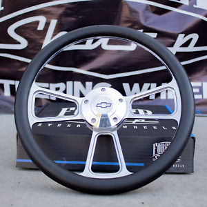 14 Billet Steering Wheel For Chevy Black Wrap And Chevy Horn Button