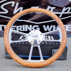 14 Billet Steering Wheel For Chevy Oak Wrap And Chevy Horn Button