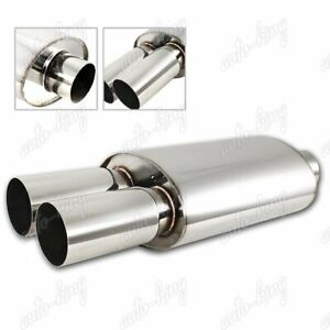 Universal 3 Dual Tip T 304 Stainless Steel Exhaust Resonator Muffler 2 5 Inlet