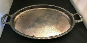 Regency Silverplate Serving Tray Platter With Handles Oval 18
