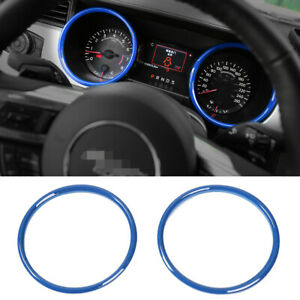 For Ford Mustang 2015 2019 Interior Dashboard Ring Cover Trim Decor Blue 2pcs