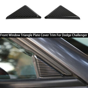 Carbon Fiber Front Window Triangle Plate Cover Trim For Dodge Challenger 2009