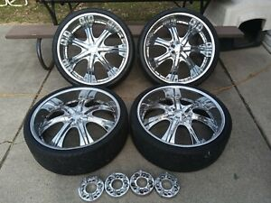 24 Inch Wheels Rims And Tires W adapters Center Caps