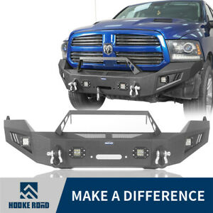 Hooke Road Steel Front Bumper W winch Plate Spotlight For Dodge Ram 1500 13 18