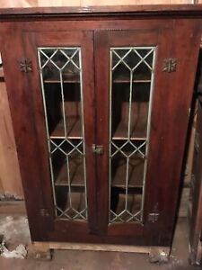 Antique Mission Style Bookcase Cabinet Leaded Beveled Glass Doors 50x33x14
