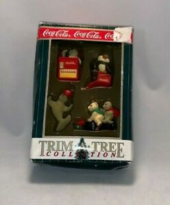 4 Coca-Cola Christmas Ornaments in Box (Bear / Penguin / Seal) Dated 1999