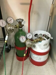 Torch Kit W hose Oxygen Propane Tanks Smith Tip Used For Soldering