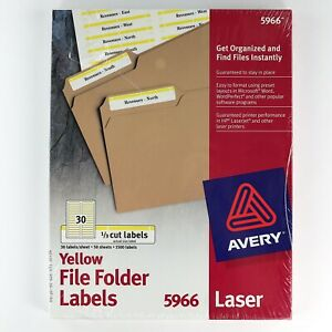 90s Vintage Avery 5966 File Folder 1 3 Cut Labels Laser Printer Yellow Usa