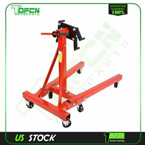 Engine Stand Folding Motor Hoist Dolly Mover Auto Repair Rebuild Jack 2000 Lb