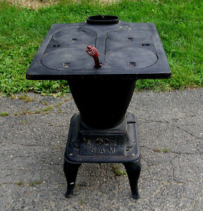 Rare Antique Cast Iron Klein Co Sam Parlor R R Laundry Cook Stove